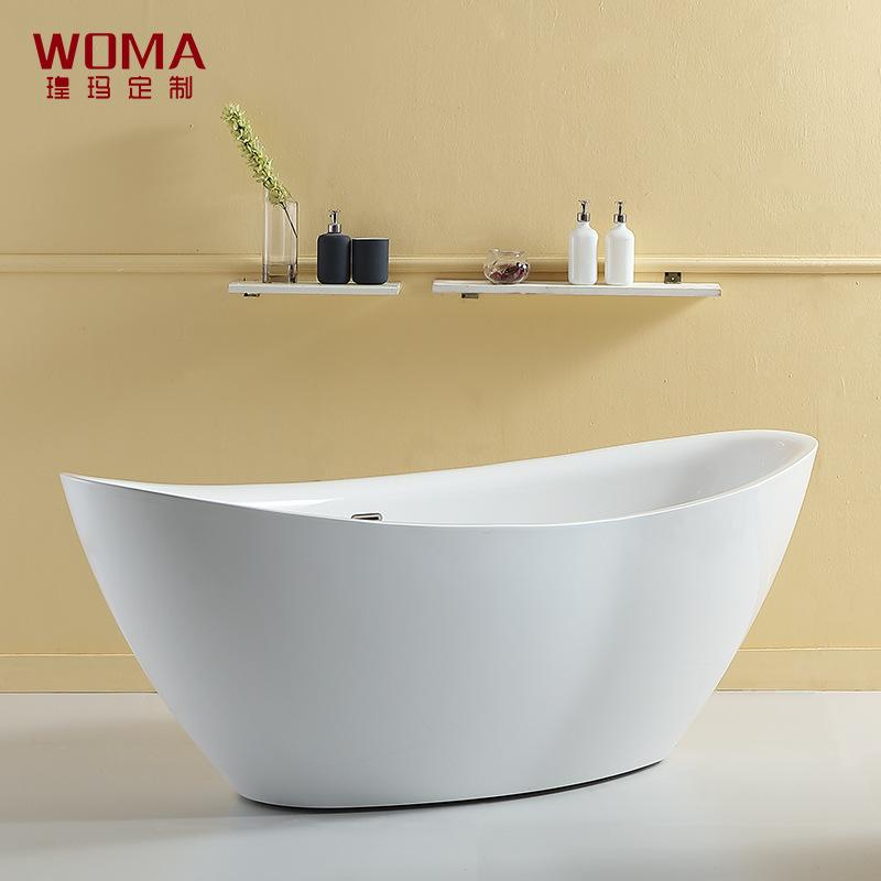 WOMA Sanitary Ware Homestay Hotel Same Style Acrylic Full Skirt Independent Bathtub Ultra-thin Edge
