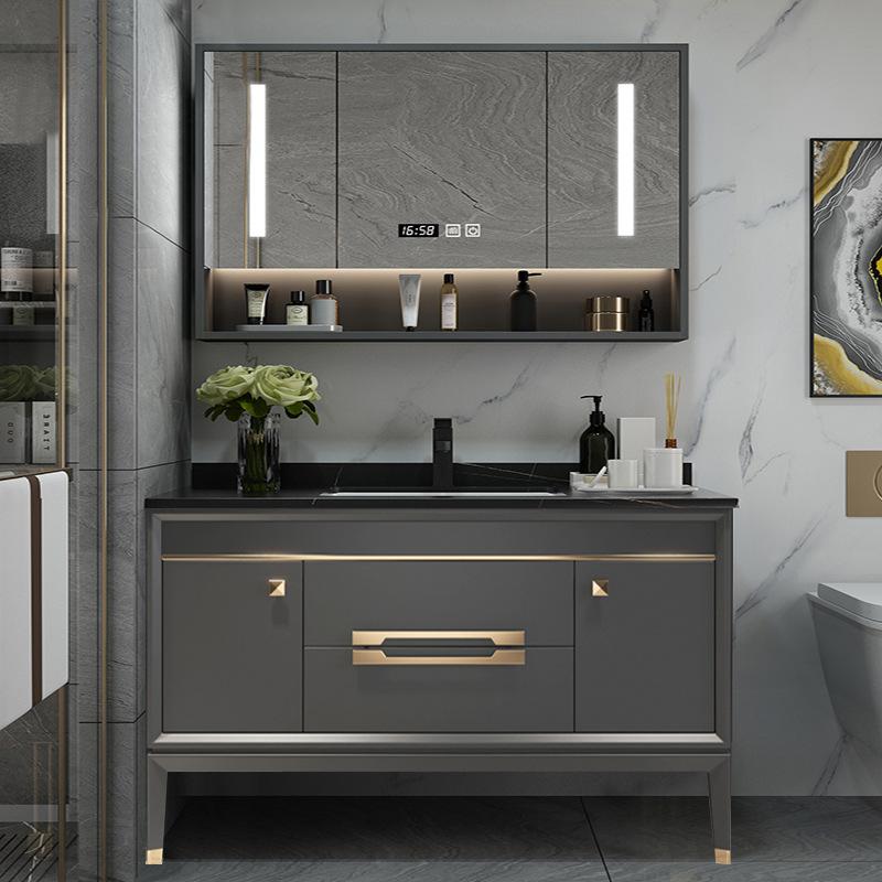 Bộ Tủ phòng tắm bằng gỗ rắn sang trọng nhẹ kết hợp gương trang điểm