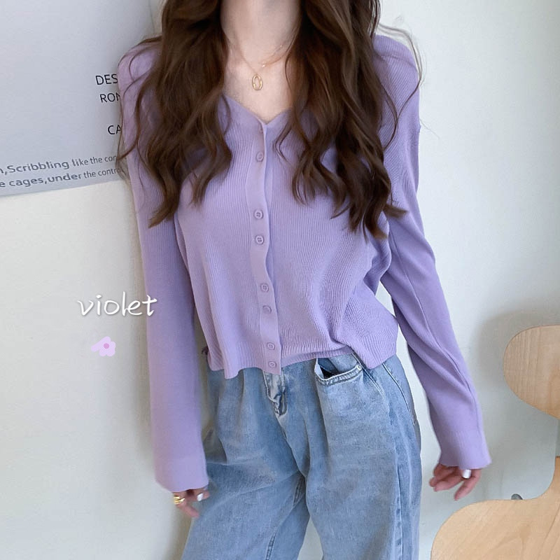Purple Knit Cardigan Women's 2021 Spring and Autumn New Gentle Wind Loose Outer Wear Short Top Swea
