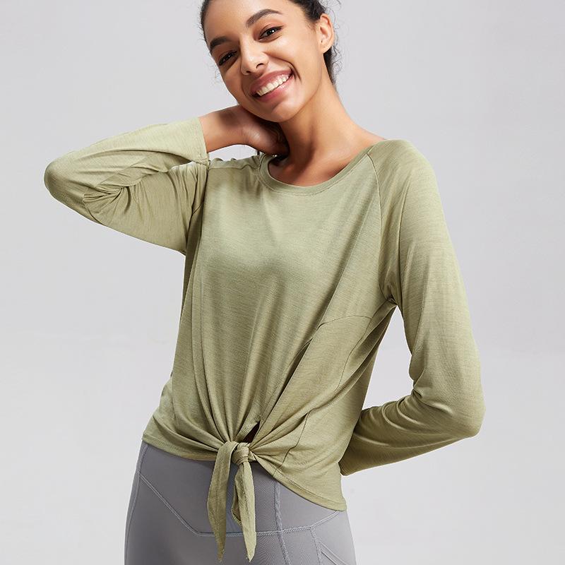 EUJR 2021 new plus size yoga wear women's blouse long-sleeved loose top running sportswear quick-dr