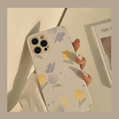 TAXIA bao da điện thoại Tính cách hoa sơn dầu điện thoại di động iphone12 vỏ chống rơi X thích hợp c