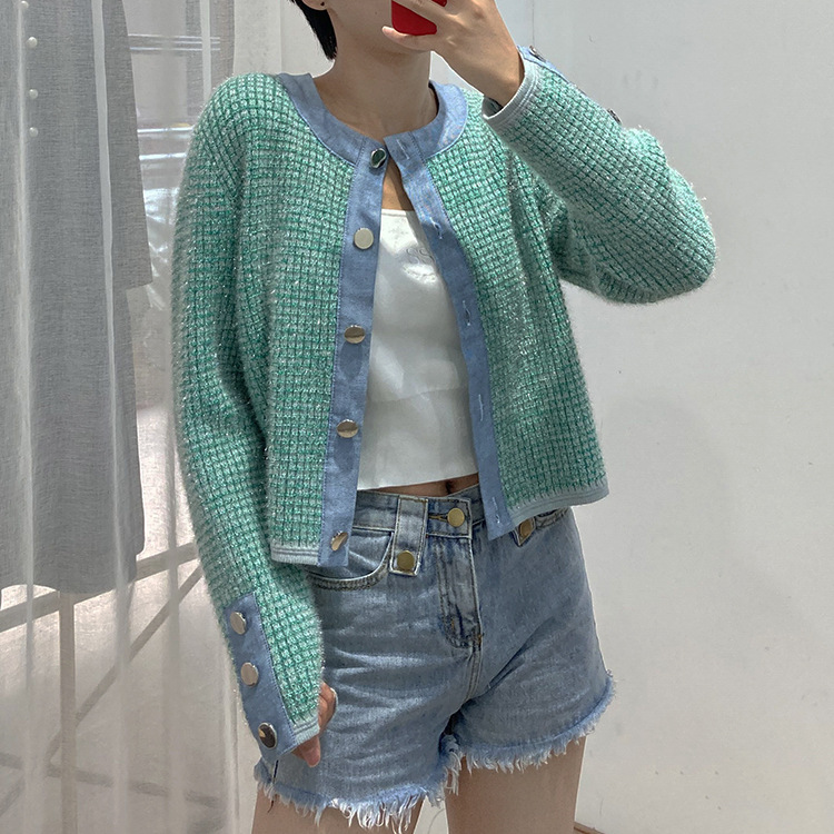 French CP home 21 spring and summer women's new style denim stitching bright silk knit cardigan wom