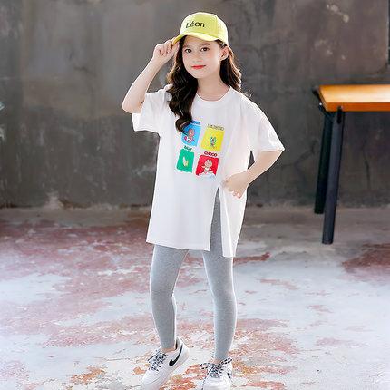 Áo thun gia đình  Bộ đồ cha mẹ mùa hè 2021 cô gái mới ngắn tay áo thun dài giữa hai mảnh quần áo mùa