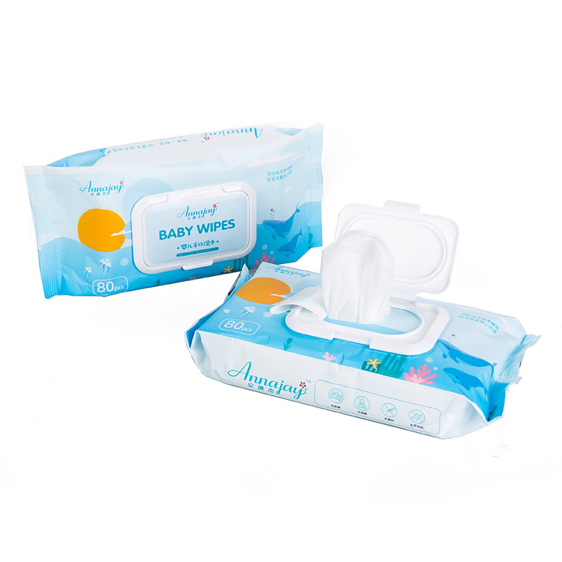 80 pumping baby wipes with lid children wipes paper baby hand mouth wipes