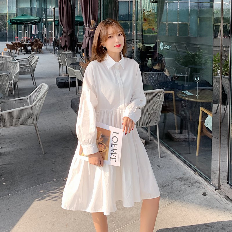 2021 spring new Korean women's pure color loose A-line shirt dress white skirt fashionable loose