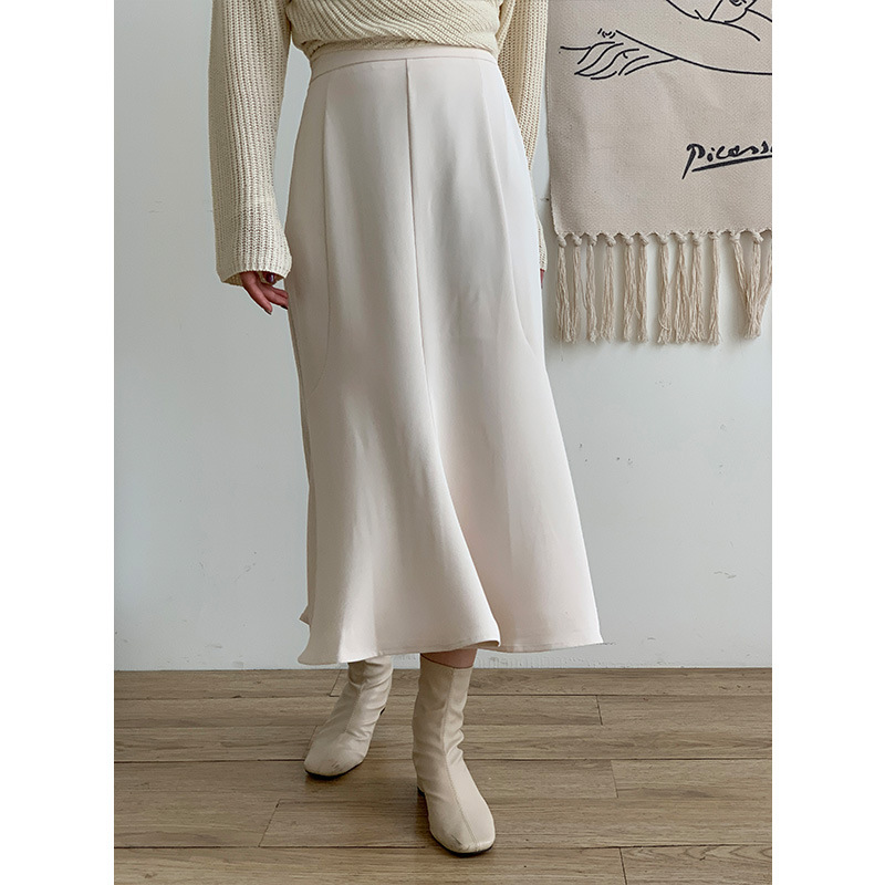 3136 thirteen lines TTC spring and summer new fashion style commuter skirt solid color stretch high