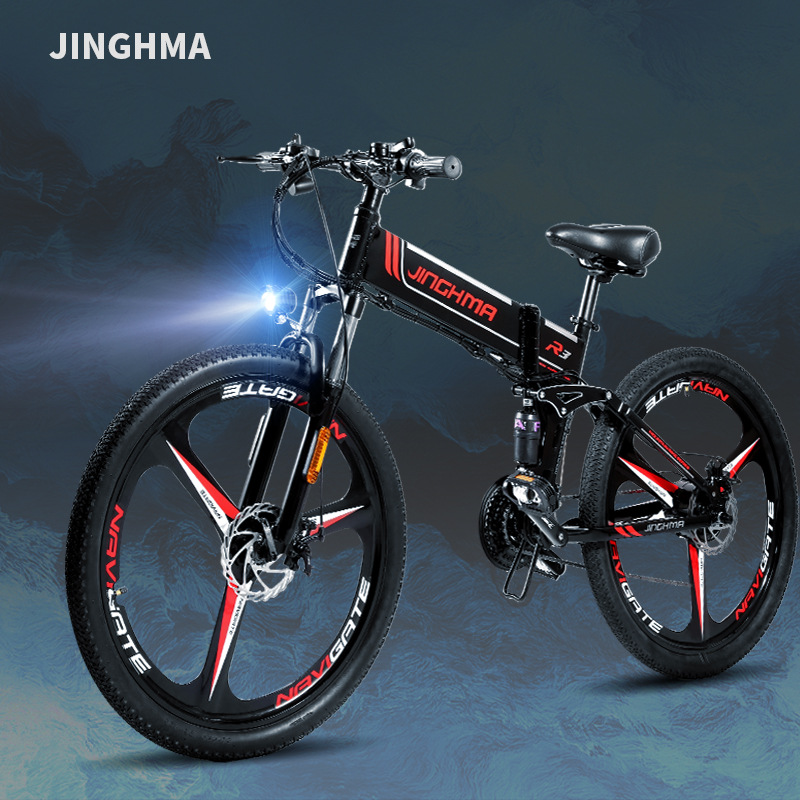 JINGHMA Folding electric bicycle mountain electric bicycle 48V lithium battery adult battery car tra