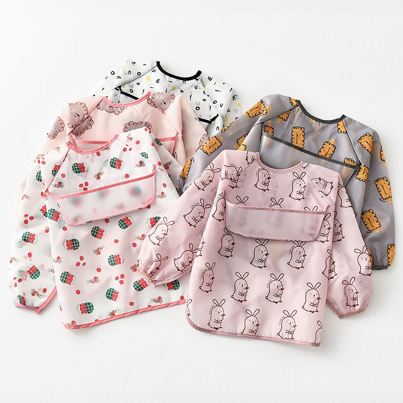 Umbrella children's waterproof bib long-sleeved baby waterproof coveralls, baby polyester taffeta f