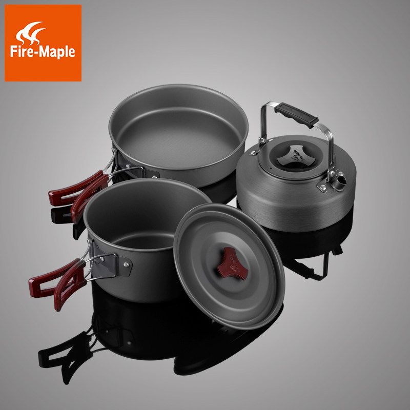 Huofeng 204 outdoor portable picnic 2-3 person cookware cookware pot teapot set tableware camping su