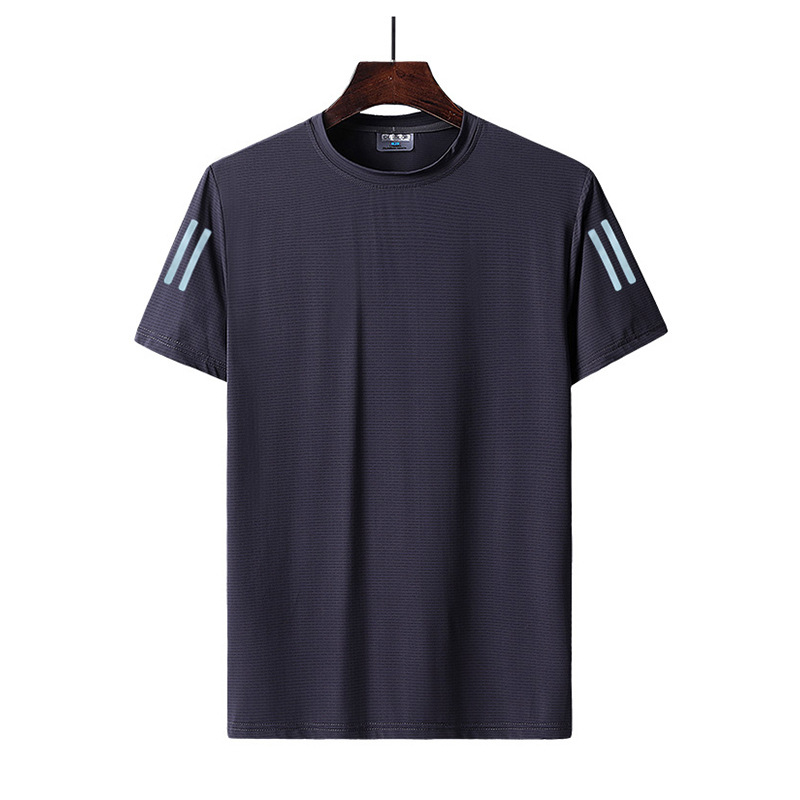 High elastic ice silk thin section men's casual short-sleeved t-shirt men's breathable quick-dryin