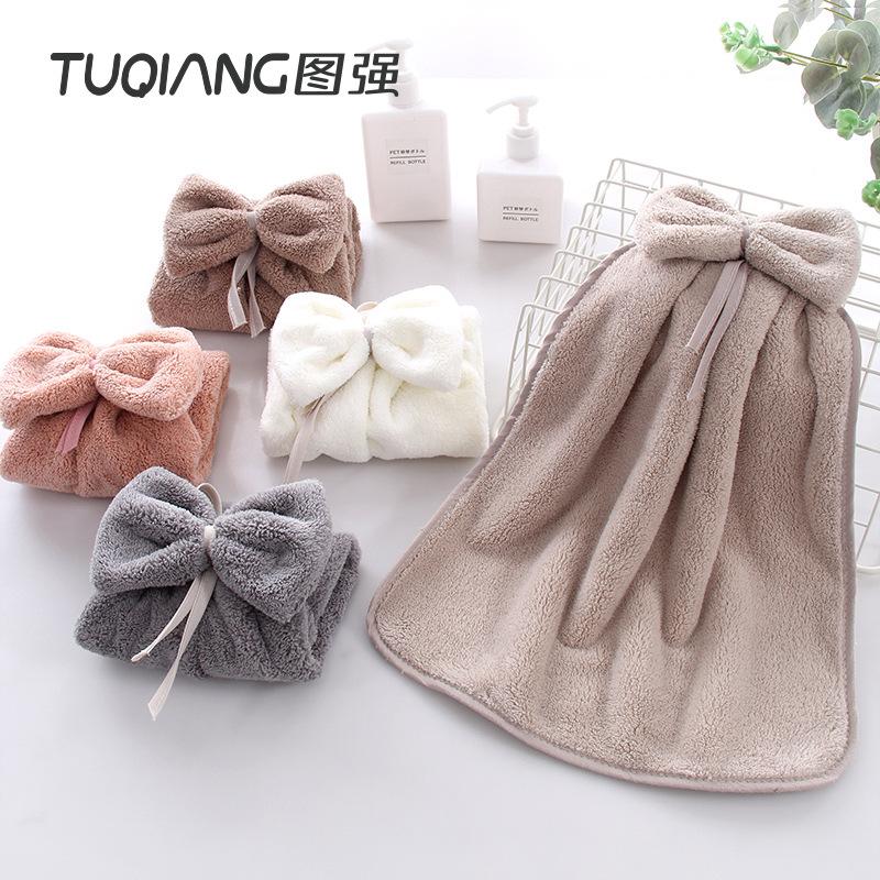 Tuqiang cute hanging hand towel absorbent kitchen handkerchief bathroom hand towel