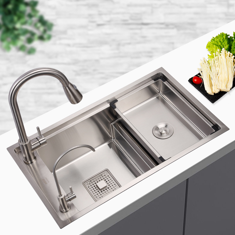 WEKE Vico kitchen sink set thickened 304 stainless large single-slot stepped vegetable basin left an