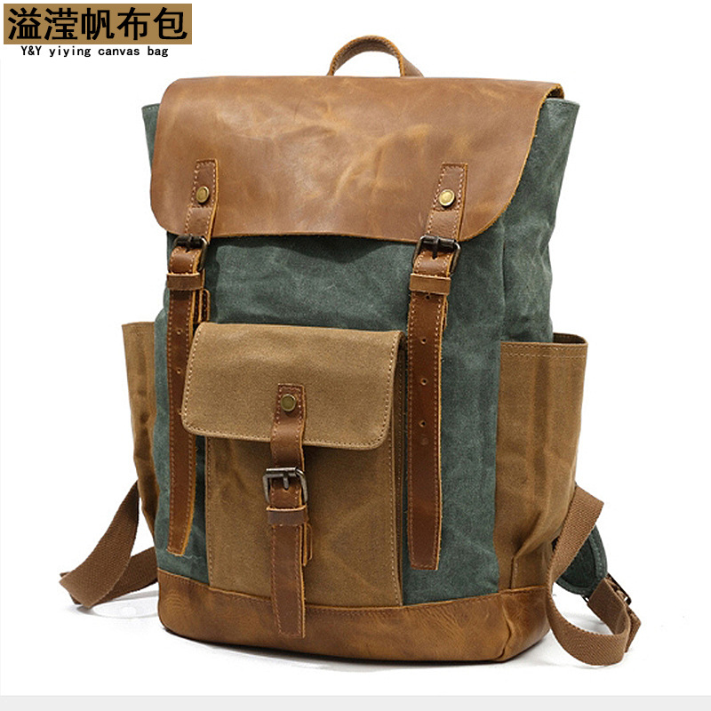 Canvas backpack men's outdoor sports mountaineering bag travel backpack student school bag