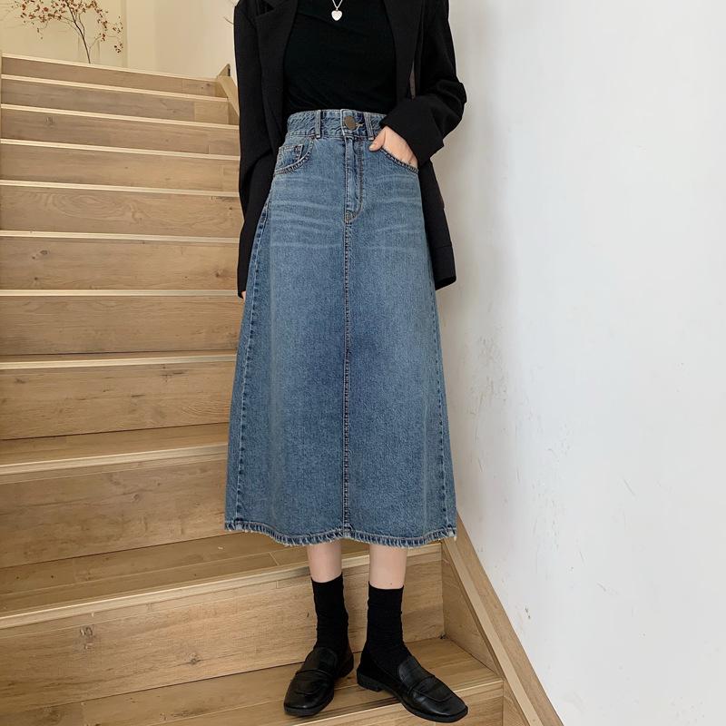 2021 fall casual denim skirt, early autumn new high-waisted, thin, crotch skirt, women's trend