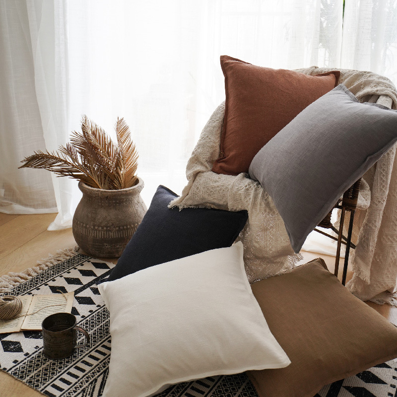 MEIRONG Pure color cotton and linen pillow home sofa linen cushion model room homestay decoration sq