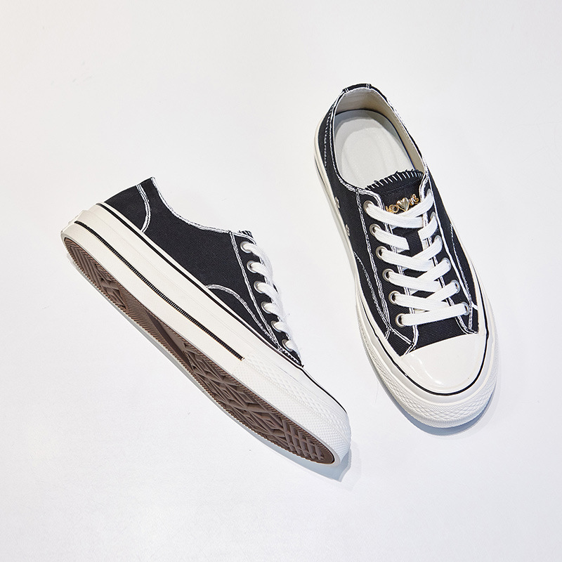 Canvas shoes women's trendy shoes 2021 new Korean fashion all-match round toe strap high and low to