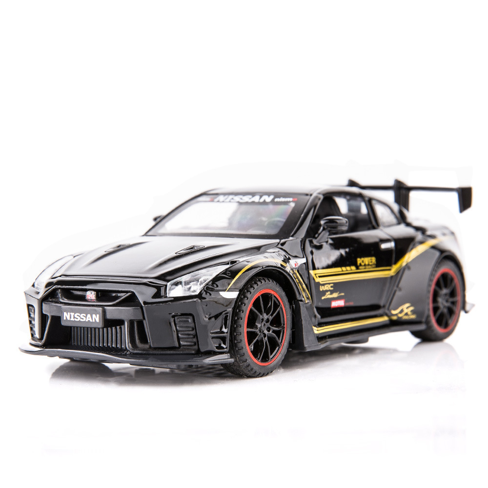 Jiaye simulation 1:32 Nissan GTR alloy toy four-door sound and light car model decoration male