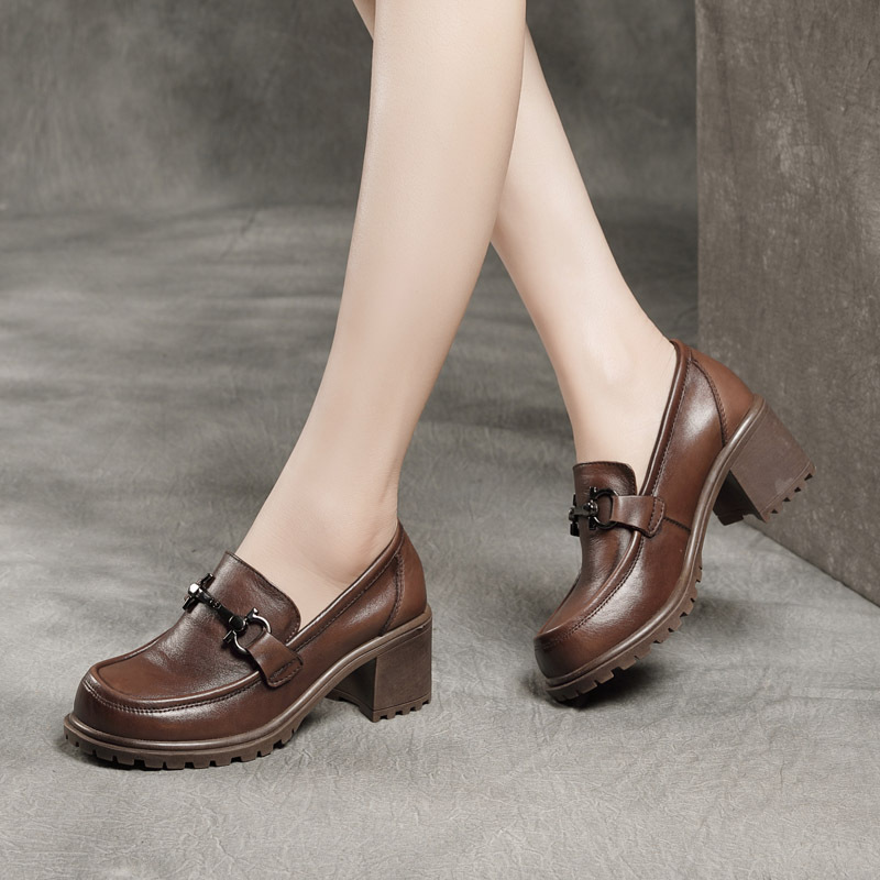 2021 spring new thick high-heeled leather single shoes washed head layer cowhide deep-mouth casual b