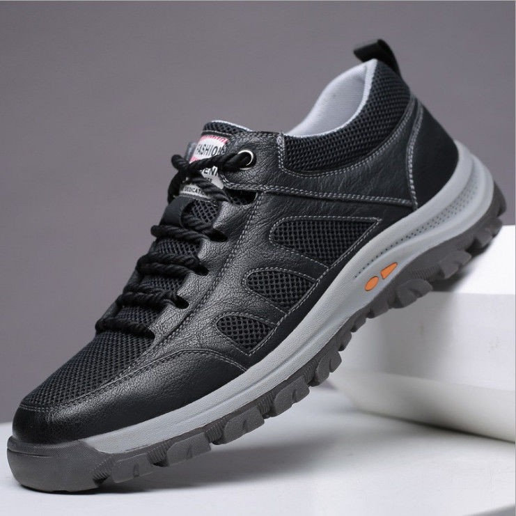 Xia Dabai men's round toe solid color black front lace casual general flat-heel low-top men's shoe