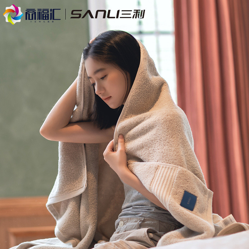 Sanli Bath Towel Household Pure Cotton Absorbent Five-Star Hotel Thicken Increase Household Adult Ch