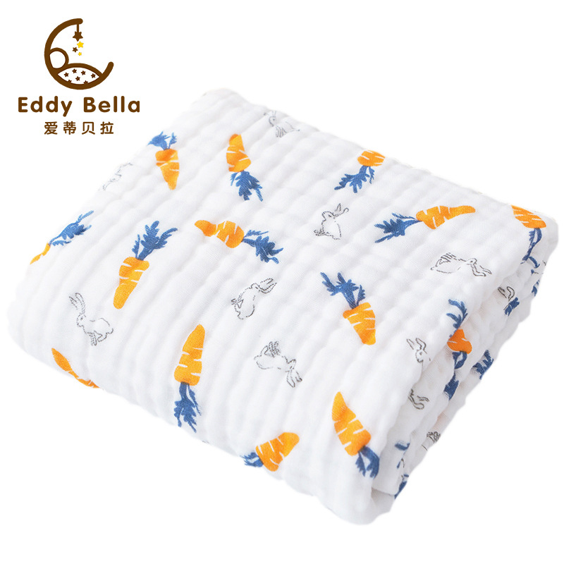 Eddy Bella Gauze bath towel baby six-layer newborn baby quilt cotton seersucker blanket cotton baby