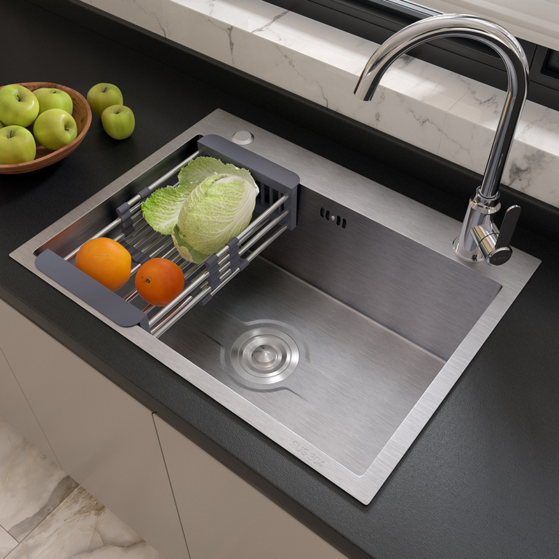 Kitchen 304 stainless steel sink large single-slot package thickened vegetable sink household sink s