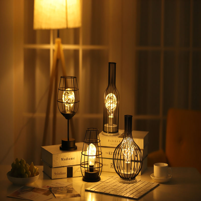 ins girl heart decoration lamp led iron night light red wine glass red wine bottle gift creative nig