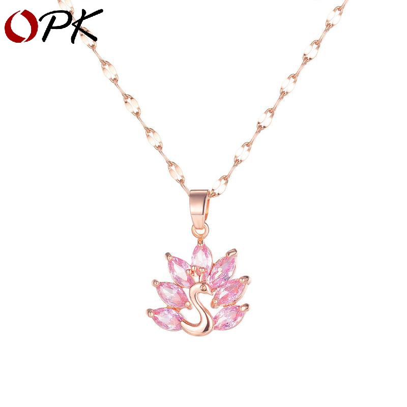 OPK Japan and South Korea simple fashion zircon flower necklace female simple and versatile temperam