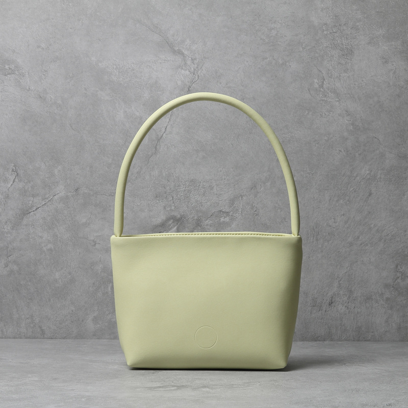 Candy hit color leather bucket handbag 2021 spring new Korean version of the small square bag female