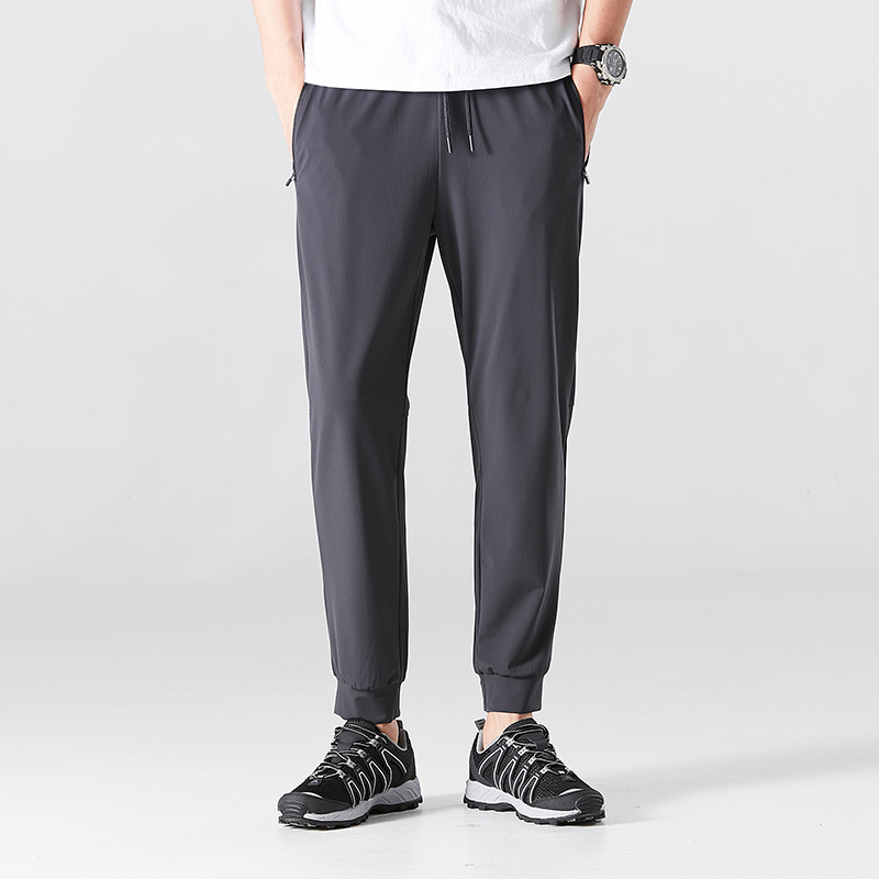 Men's and women's casual ice silk pants summer thin men's large size sports nine-point pants hand