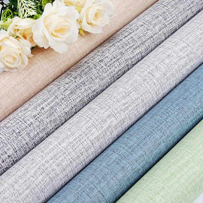 FUHUI Cloth wallpaper self-adhesive imitation cloth wallpaper plain bedroom living room PVC solid co