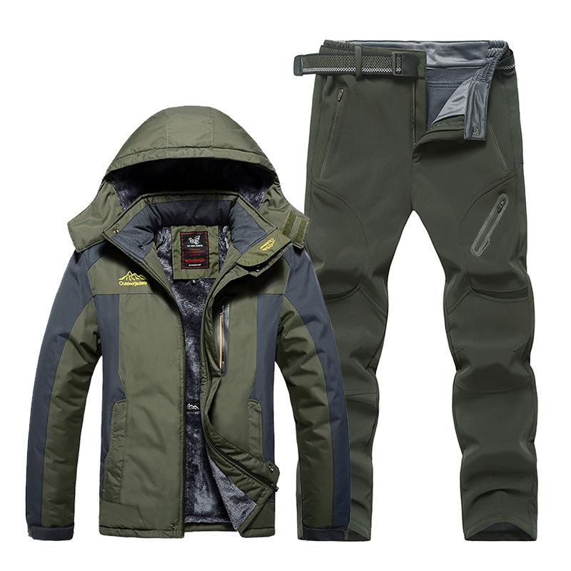 Cross-border AliExpress outdoor assault pants suit men's winter plus velvet thickened mountaineerin