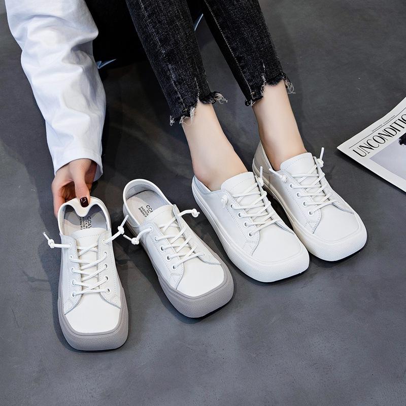 CCVV2021 spring new low-cut wear-resistant women's shoes square toe shoes leather women's shoes fa