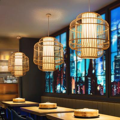 YUEMINGSONG Đèn treo trần Đèn chùm tre phong cách Trung Quốc mới Phòng trà Zen nhà hàng nhà hàng Đèn