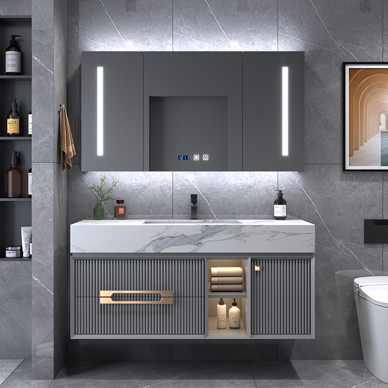 Bộ tủ chậu rửa đá hiện đại kết hợp tủ phòng tắm đơn giản nhẹ nhàng sang trọng