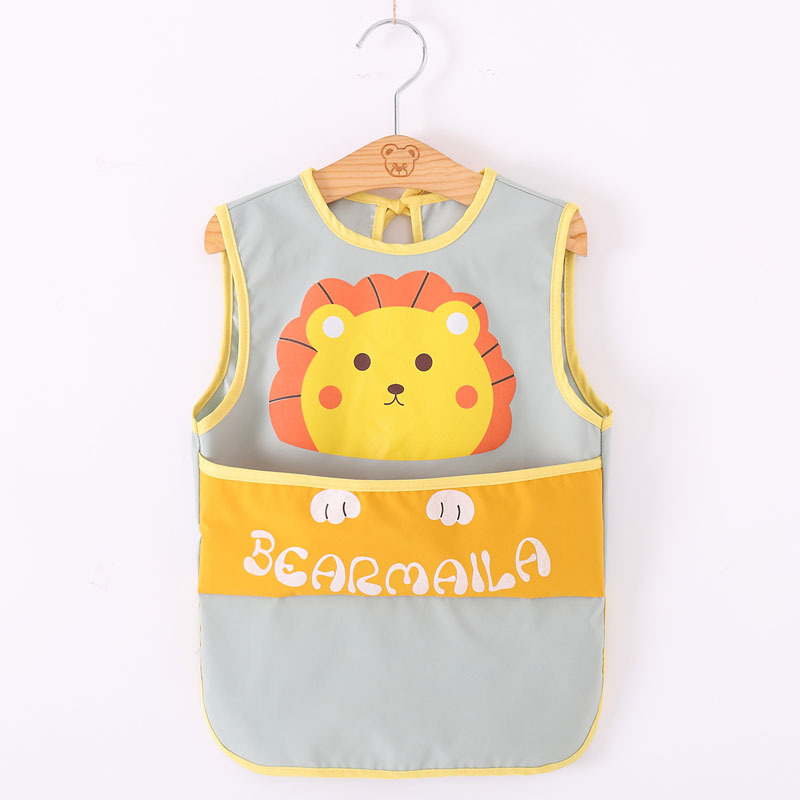 Summer sleeveless baby gown mid-length full-body waterproof children's apron boy eating meal pocket