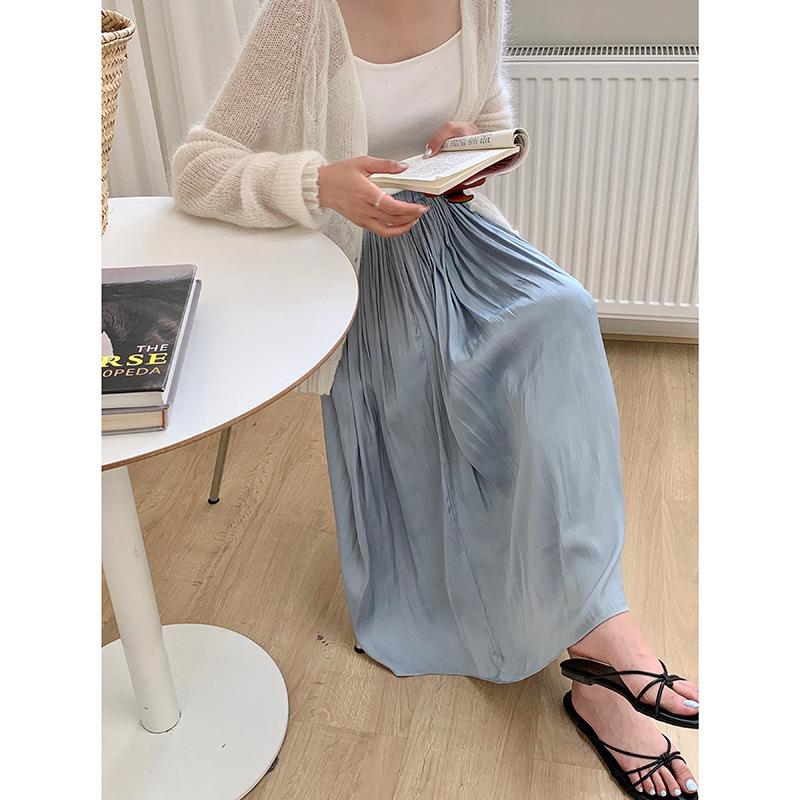 [Taihe] Spring/Summer 2021 new Korean temperament elastic high waist skirt women loose and thin all-