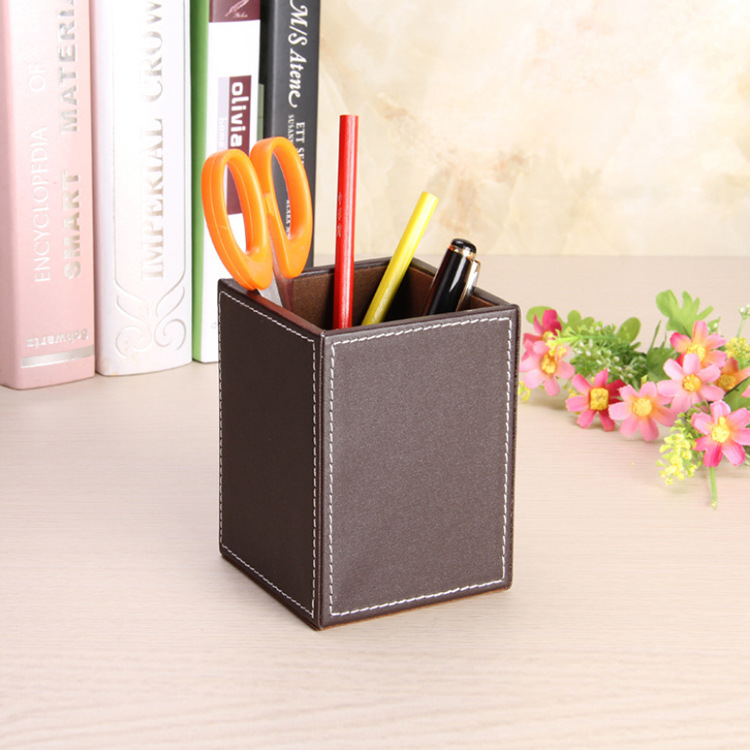 Leather Student's Square Pen Holder Desktop Storage Box Pen Holder Fashion Office Supplies