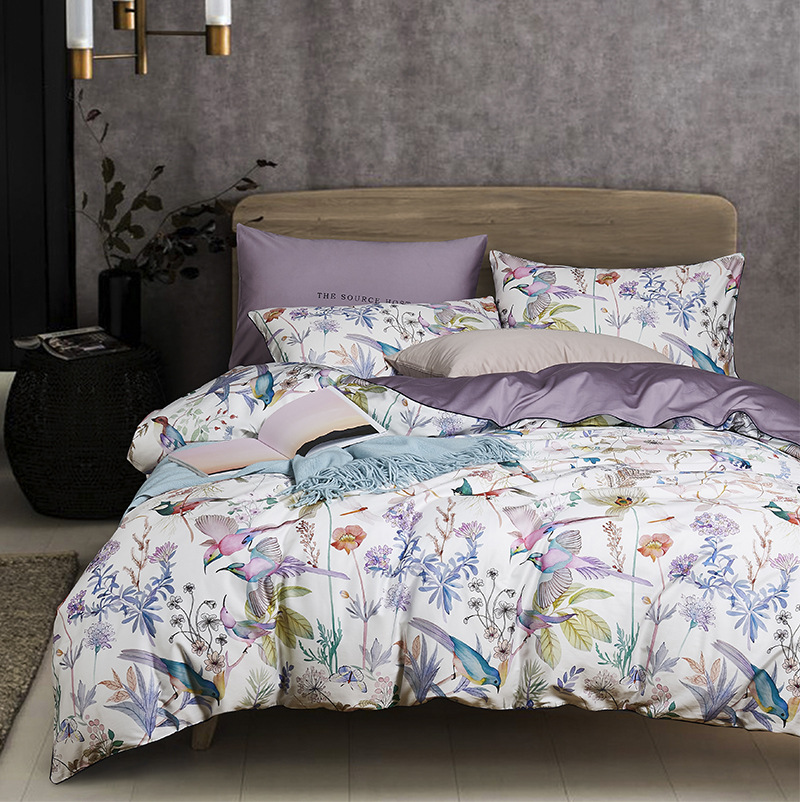 Luxury American style 60 satin printed long-staple cotton four-piece full cotton quilt cover flower