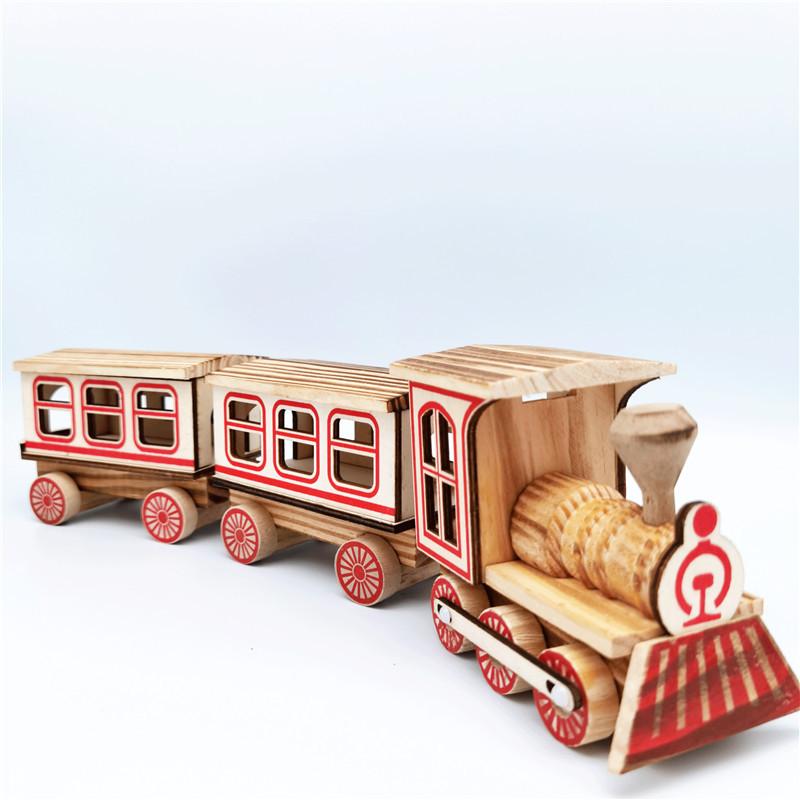 SENRUI Three-section train wooden locomotive travel office creative home furnishings simulation retr