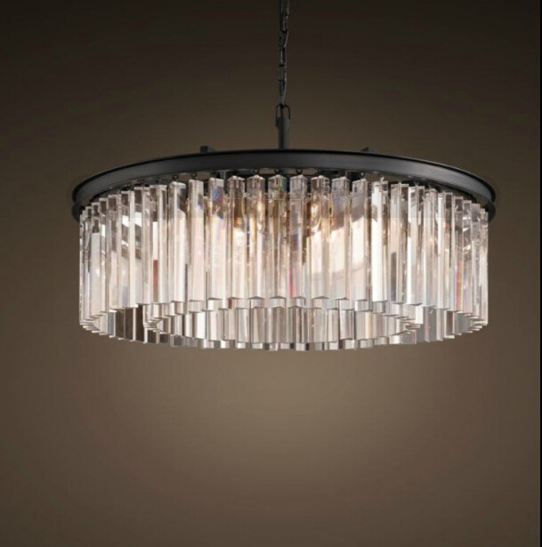 American country simple wrought iron crystal bar chandelier creative personality living room dining