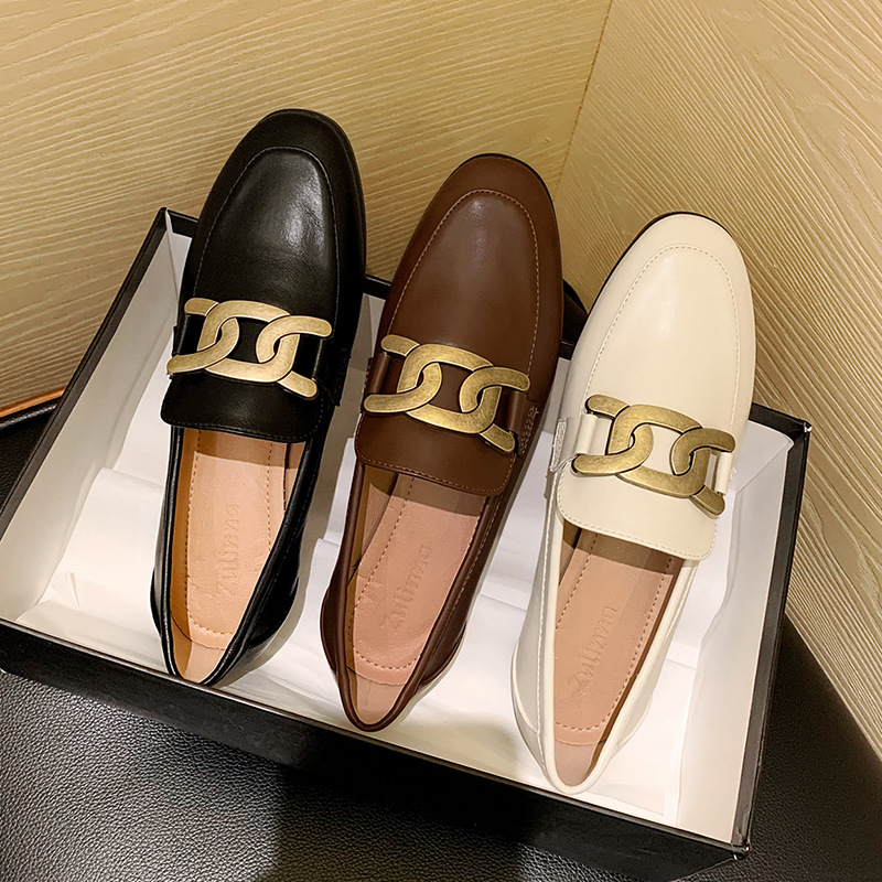 Retro British style horsebit loafers spring new one-pedal small leather shoes women's solid color f