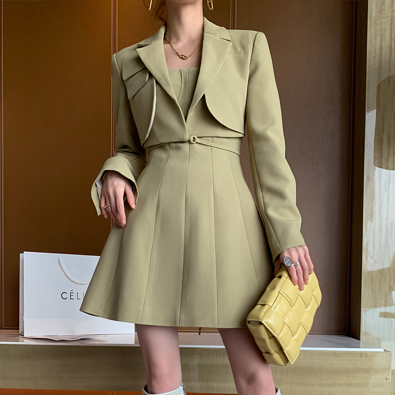 2021 spring women's new blue women's suit, age-reducing, long-sleeved, small man, early autumn tid