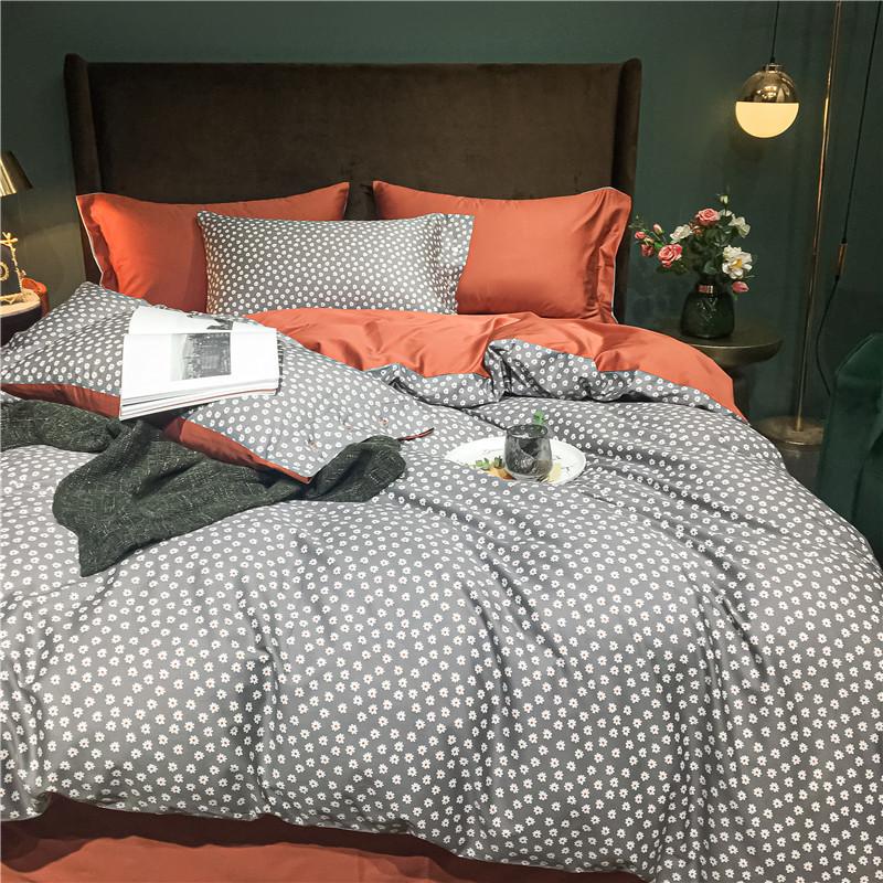RIRILE Pure cotton 60 long-staple cotton four-piece set bed sheet duvet cover light luxury winter th