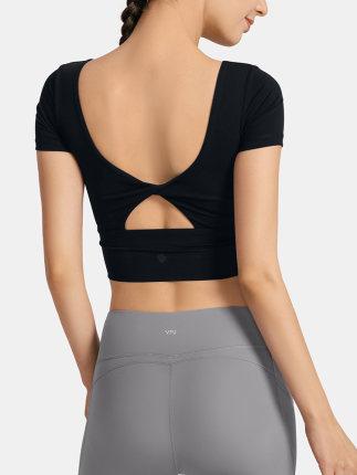 VFU Áo thun mau khô  với miếng đệm ngực bó sát hàng đầu vẻ đẹp trở lại thoáng khí Quần áo yoga ngắn