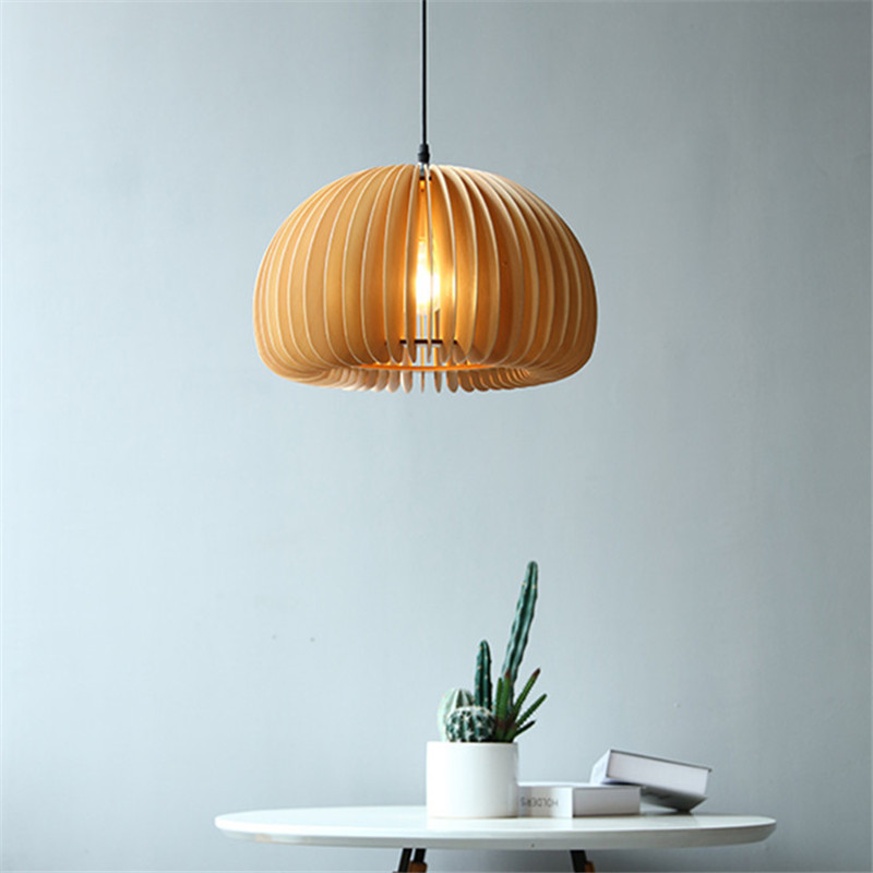 QIANGSEN Nordic wooden dining room chandelier creative living room bedroom lamp vintage simple coffe