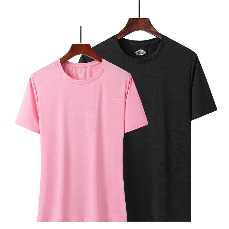 Ice silk short-sleeved t-shirt male quick-drying breathable loose plus size fat sports summer thin c