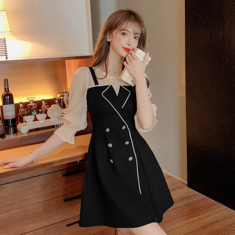 2021 summer new French round neck sling fake two high waist fashion temperament thin A-line dress wo