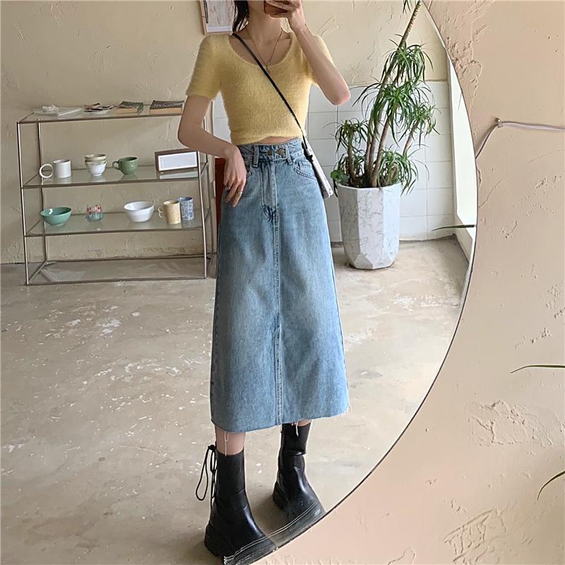 Jeans Women's Spring/Summer 2021 New Korean Style High Waist Split Washed Light Blue Skirt Mid-leng