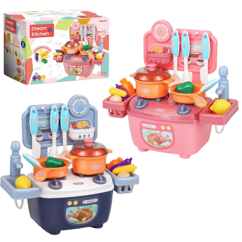 LEFENGLE Children's play house mini kitchen tableware table girl simulation cooking set girl toy bi